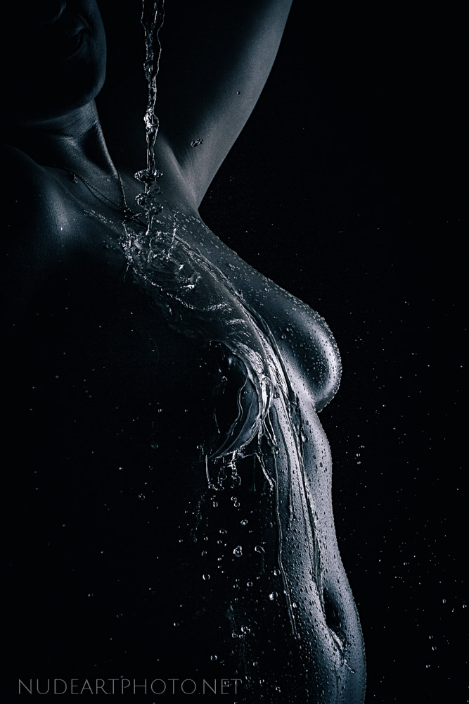 wet water falling on body